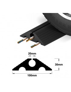 Drive-Over Multi-Channel Rubber Cable Protector, 100mm x 30mm -