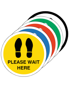 PLEASE WAIT HERE Footprint Floor Sticker -